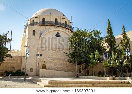 The Hurva Synagogue in Jewish quarter, Old City of Jerusalem in Israel