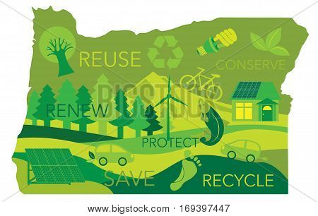 State of Oregon Landscape with Mount Hood Trees Salmon Environment Eco Friendly Symbols and Text in Map Outline Illustration