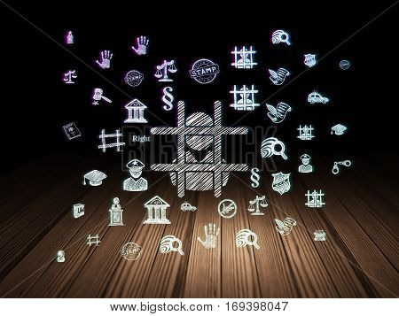 Law concept: Glowing Criminal icon in grunge dark room with Wooden Floor, black background with  Hand Drawn Law Icons