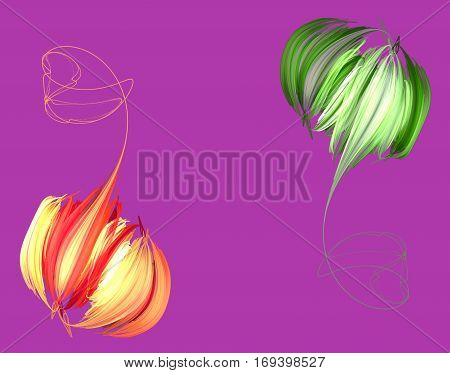 An abstract orange peony on a pink