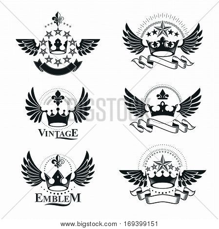 Ancient Crowns emblems set. Heraldic vector design elements collection. Retro style label heraldry logo.