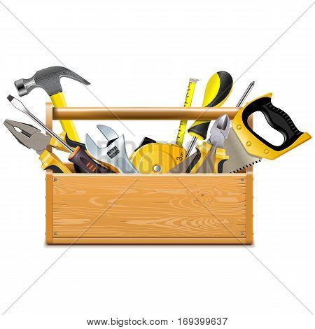 Vector Toolbox with Instruments isolated on white background