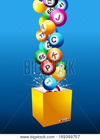 Bingo Balls with Numbers and Letters Composing the Word Jackpot Coming Out from a Yellow Box Over Blue Background