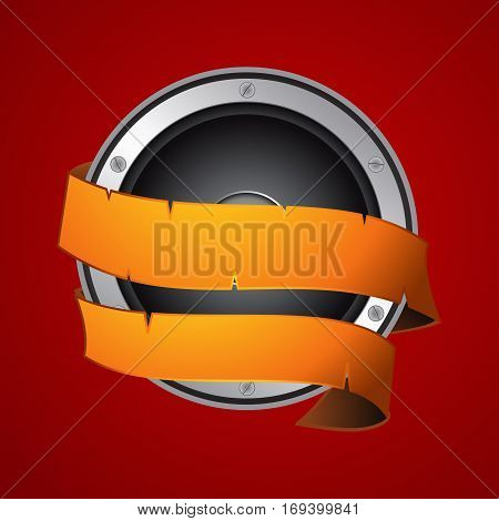 Loudspeaker Wrapped in a Vintage Yellow Banner Over Red Background