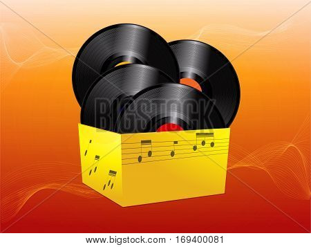 3D Illustration of Vinyl Records in a Yellow Box Over Red and Orange Background with Waves