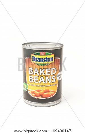 YATELEY, UK - FEBRUARY 6, 2017: Branston Baked Beans - a popular canned food product manufactured in the UK by Japanese owned company Mizkan