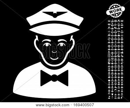 Airline Steward icon with bonus occupation pictograph collection. Vector illustration style is flat iconic white symbols on black background.