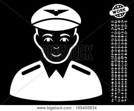 Aviator pictograph with bonus avatar images. Vector illustration style is flat iconic white symbols on black background.
