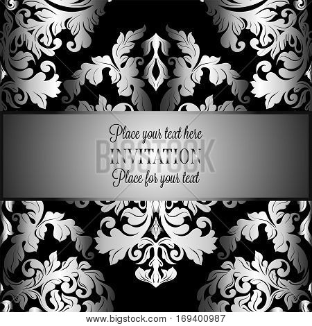 Baroque Background With Antique, Luxury Gray, Black And Metal Silver Vintage Frame, Victorian Banner