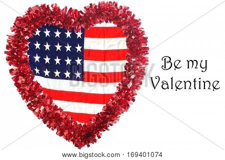 valentines day heart with an American flag inside. isolated on white with room for your text.