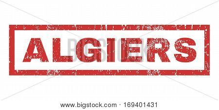 Algiers text rubber seal stamp watermark. Tag inside rectangular shape with grunge design and unclean texture. Horizontal vector red ink sign on a white background.