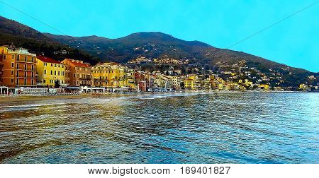 Beautiful view of the sea and the town of Alassio with colorful buildings Liguria Italian Riviera Cote d'Azur Italy
