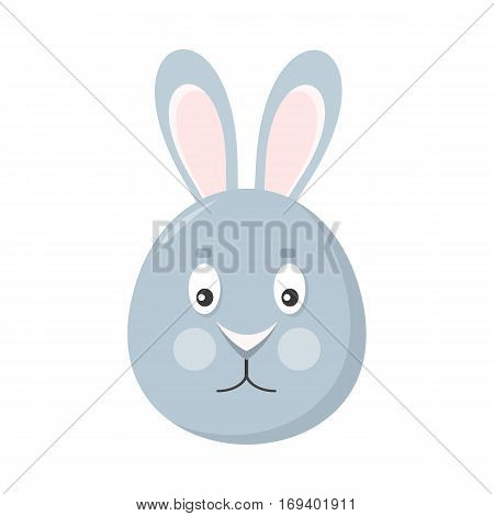 Rabbit mask isolated on white. Hare or grey bunny. Cartoon character face to celebrate happy events at kindergarten, birthday, children holiday festival. Sticker for toddler. Vector in flat style