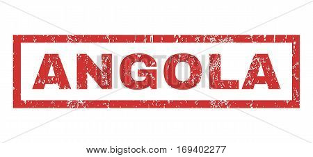 Angola text rubber seal stamp watermark. Tag inside rectangular banner with grunge design and unclean texture. Horizontal vector red ink emblem on a white background.