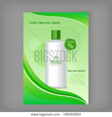 Tonic sea series bottle isolated. Discount banner. Cosmetic product flasks with logo or symbol on the nameplate. Reservoir with label. Part of series of decorative cosmetics items. Vector