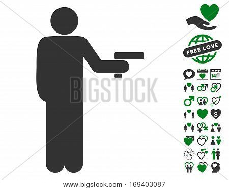 Robber With Gun icon with bonus dating pictograms. Vector illustration style is flat iconic green and gray symbols on white background.