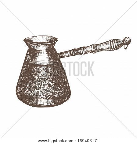 Vector illustration with sketch turkish coffee pot. Sketch of kitchen utensils in vintage style. Vector illustration. Hand drawn sketch.