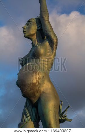 Ilfracombe North Devon England 13 July 2016: Verity - statue in Ilfracombe of the author Damien Hirst
