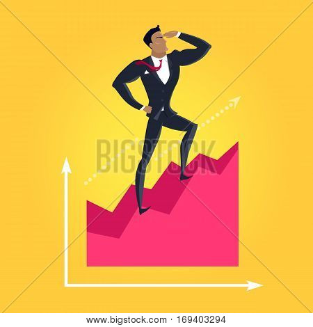 Business success vector concept. Flat design. Career and economical competition. businessman standing on graph and looking into the distance. Progress indicators and earnings growth illustration.