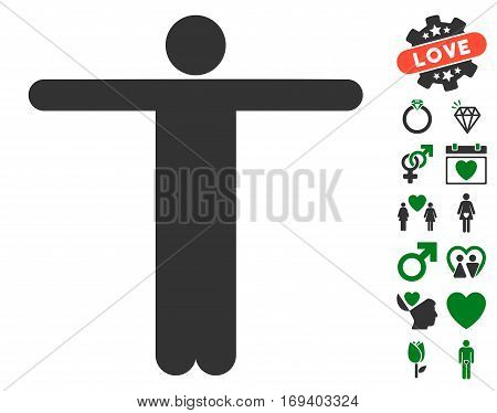 Scarecrow Pose pictograph with bonus love symbols. Vector illustration style is flat iconic green and gray symbols on white background.