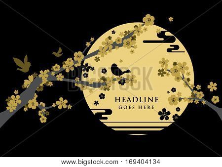 Vector of modern cherry blossom and festive background