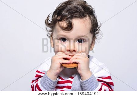 Portrait of a cute baby eating a biscuit. One year old kid eating biscuits by himself. Adorable curly hair boy being hungry.