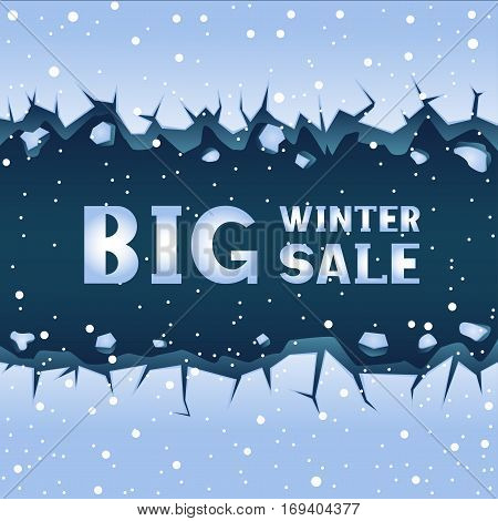 Big straight blue ice crack and falling snow. Text winter sale lettering