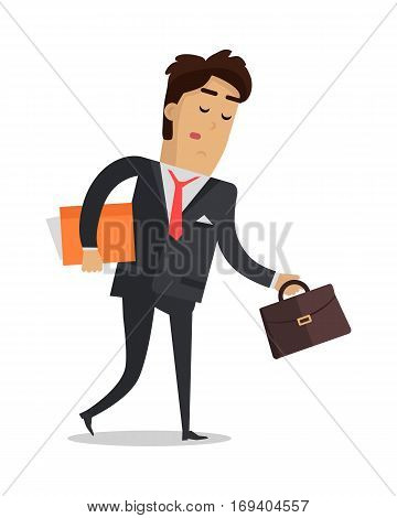 Tired man with book and suitcase going home isolated on white. Male in expensive suit tired after busy working day. Person wants to have a good rest. Vector design illustration in flat style.
