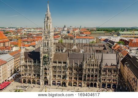 The New Town Hall Is A Town Hall At The Northern Part Of Marienplatz In Munich, Bavaria
