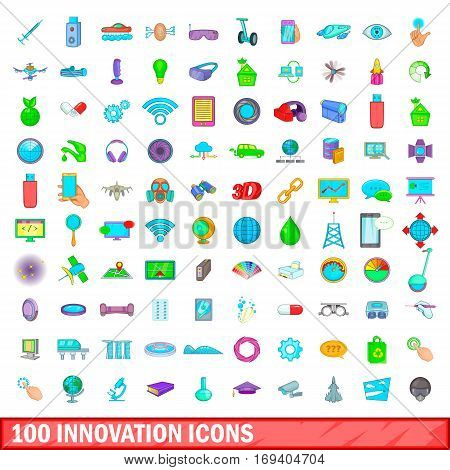 100 innovation icons set in cartoon style for any design vector illustration