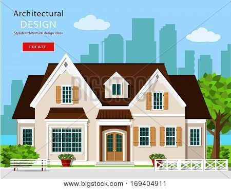 Stylish modern graphic cottage house. Flat style vector illustration. Set with building, city background, bench, tree and flowers.