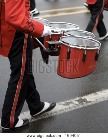 Drummer In A Marching Band On Foggy Day