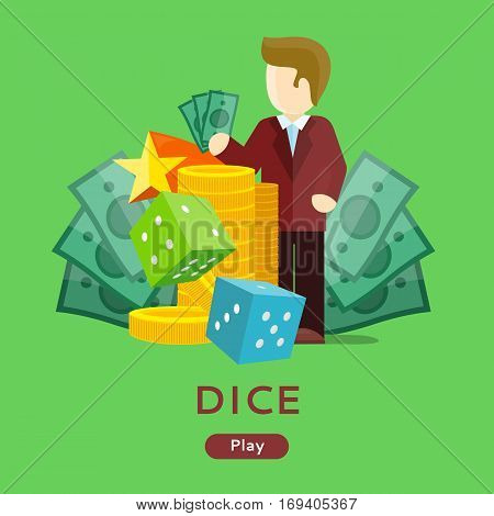 Casino gambling website template. Chips stacks, croupier, craps dice and money on green background. Banner for online casino. Vector illustration. Casino background