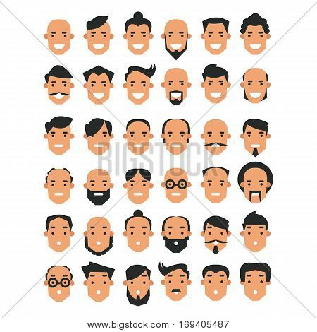 Set of avatar icons in flat style. The heads of the men with a different appearance. Vector illustration isolated on white background.