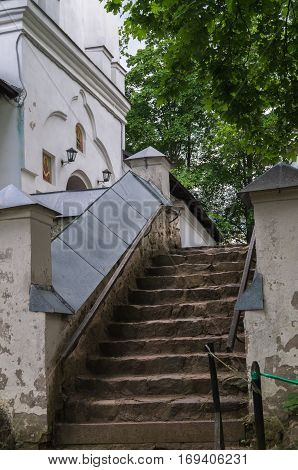 A view of the Svyatogorsk monasterywhere is buried the great Russian poet Alexander Pushkin Pushkinskiye Gory Russia closeup of steps to the Assumption Cathedral.