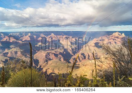 A majestic view on Grand canyon National park (south rim) Arizona USA with rainbow.
