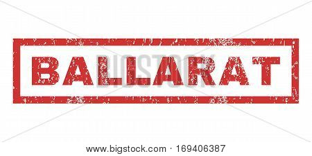 Ballarat text rubber seal stamp watermark. Tag inside rectangular banner with grunge design and dirty texture. Horizontal vector red ink sign on a white background.
