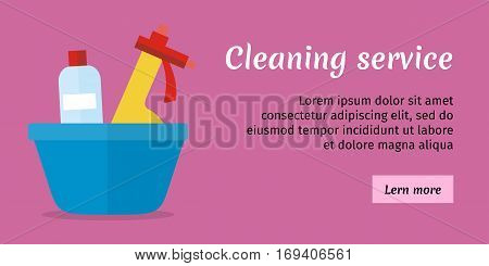 Purple cleaning service banner with blue basin and cleaning products. House cleaning service, professional office cleaning, home cleaning, domestic cleaning service illustration. Website template
