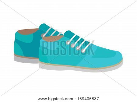 Sport running shoes isolated on white background. Pair of womens trekking shoes. Athletic shoes in flat style design. Footwear for fitness. Pair of casual sneakers. Vector illustration