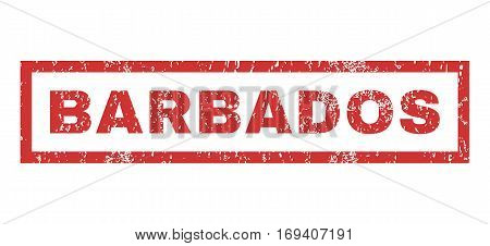 Barbados text rubber seal stamp watermark. Tag inside rectangular shape with grunge design and scratched texture. Horizontal vector red ink sign on a white background.