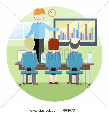 Lecturerin in blue shirt and black pants making a presentation near interactive whiteboard with infographics. Business seminar. Board at a presentation with information, scheme, diagram.