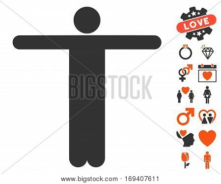Scarecrow Pose pictograph with bonus love graphic icons. Vector illustration style is flat iconic orange and gray symbols on white background.
