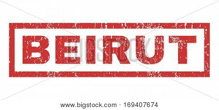 Beirut text rubber seal stamp watermark. Caption inside rectangular banner with grunge design and scratched texture. Horizontal vector red ink sticker on a white background.