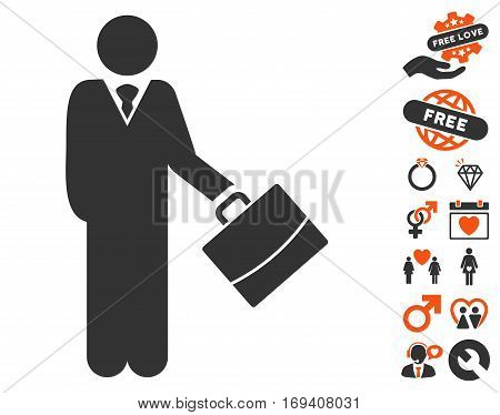 Standing Businessman pictograph with bonus valentine pictures. Vector illustration style is flat iconic orange and gray symbols on white background.