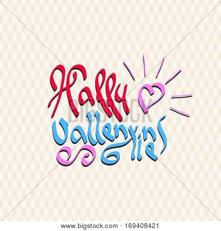 Happy Valentines text. Shining heart love symbol. Romantic February Celebration Template. Vector illustration.