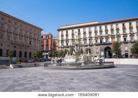 Naples Italy - August 30 2016: Fountain of Neptune located in Municipio square