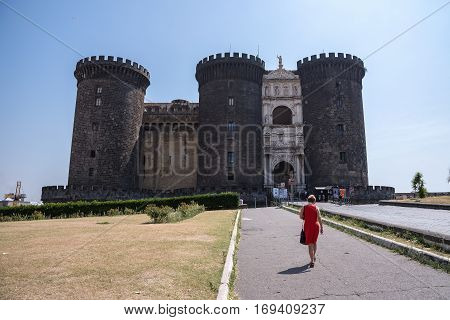 Naples Italy - August 30 2016: Tourists visit the Ovo Castle located on the Gulf of Naples
