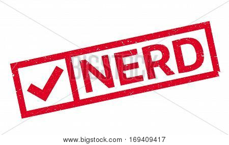 Nerd rubber stamp. Grunge design with dust scratches. Effects can be easily removed for a clean, crisp look. Color is easily changed.