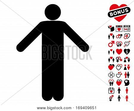 Ignorance Pose pictograph with bonus love design elements. Vector illustration style is flat iconic intensive red and black symbols on white background.