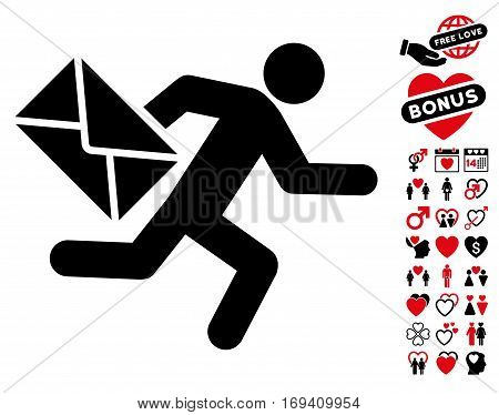 Mail Courier icon with bonus dating pictograph collection. Vector illustration style is flat iconic intensive red and black symbols on white background.